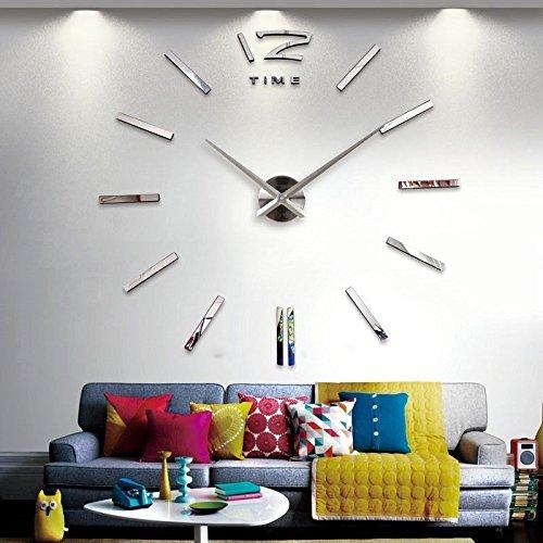 Baytter Große, dreidimensionale Uhr aus Spiegelglas, für Büro, Wohnzimmer oder Schlafzimmer, zum selbst Aufkleben, silberfarben