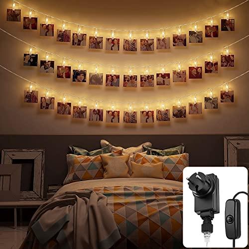 LED Fotoclips Lichterkette mit einem 6 Netzkabel und 30 LED´s - Moderne Stylische Dekoration.,