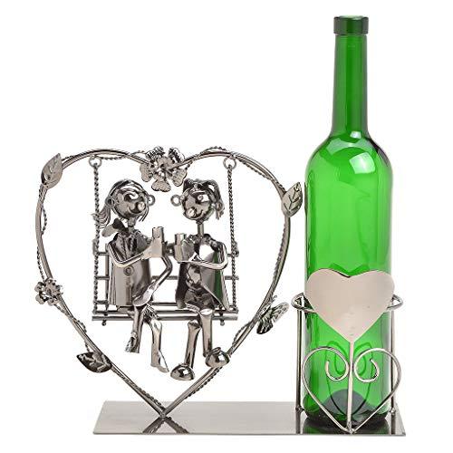 Wein Flaschenhalter Liebespaar auf Schaukel in großem Herz - Weinflaschenhalter Metall mit Figuren als Geschenk oder Dekoartikel für zu Hause