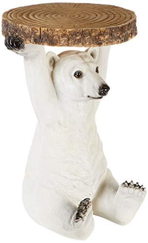 Kare Design Beistelltisch Animal Polar Bär, Ø37cm, kleiner, runder Couchtisch, Holzoptik, Tierfigur als ausgefallener Wohnzimmertisch, (H/B/T) 53x37x37cm
