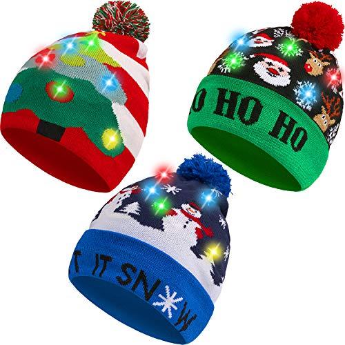 SATINIOR 3 Stücke Weihnachten LED Licht Hüte Weihnachten Beanie Hat LED Pom Pom Weihnachtsmütze für Weihnachtsfeier