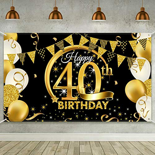 TaimeiMao 40.Geburtstag Dekoration Schwarzes Gold,Geburtstag deko,40 Mann und Frau Geburtstag deko,Geburtstag Party Dekor,40.Geburtstagsdeko,Geburtstag Luftballons für Party Deko,Geburtstagsdeko