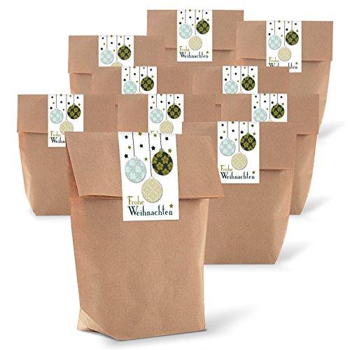 25 braune natur weihnachtliche Verpackung Geschenk-Tüten Kraftpapier 14 x 22 x 5,6 cm + 25 Aufkleber FROHE WEIHNACHTEN KUGELN vintage grün Geschenk-Verpackung Weihnachtsverpackung natürlich