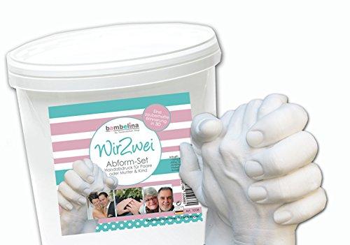 Handabruck Set für Paar, Paare, 3D Gipsabdruck für Erwachsene Hände, Valentinstag, Großeltern, Freunde, 2 Hände Gipsabdruck, Deutsches Produkt