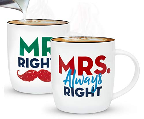 Gifffted Mr Right Mrs Always Right Tassen Set für Sie und Ihn, Hochzeitsgeschenke für Brautpaar,Paar Geschenk, Braut Bräutigam, Paare Weihnachtgeschenke, Hochzeitstag, Kaffeetasse