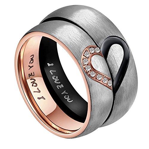 ANAZOZ Ihr & Frauen für Real Love Herz Versprechen Ring Edelstahl Hochzeit Trauringe Bandringe 6MM US Größe 6