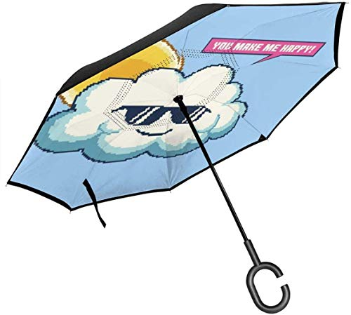 You Make Me Happy Cloud Wearing Sunglasses Pixel Art Double Layer Inverted Umbrella for Car Reverse Folding Upside Down C-Shaped Hands - Lightweight & Windproof –