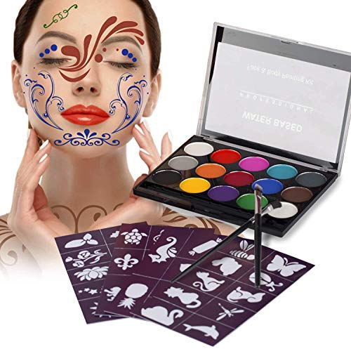 Kinderschminke Set, Xpaisson Schminkfarben Ultimatives Party Set Nichttoxisches 15 Farben für Kinder Parties Bodypainting Halloween Make-up