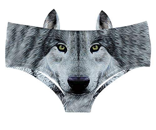 JINKAIJIA Damen sexy lustig frech 3D gedruckt Tier Schwanz Unterwäsche Briefs Geschenke mit niedlichen Ohren - - Large