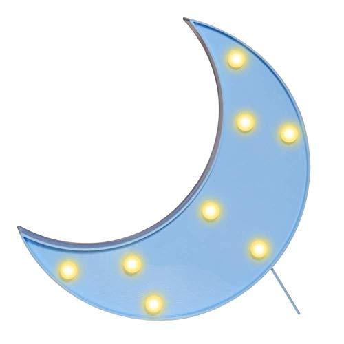 QiaoFei 3D-Mondschild-Licht, LED-Kunststoff-Mondschild, beleuchtetes Festzelt, Wanddekoration für Weihnachten, Geburtstagsfeier, Kinderzimmer, Wohnzimmer, Hochzeits-Party-Dekoration (blau)