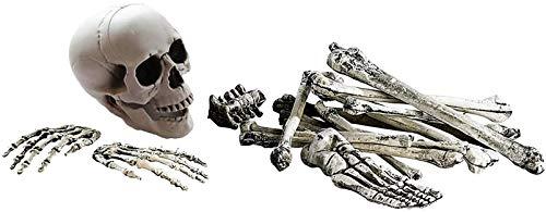 JuguHoovi Halloween Skelett Bausatz, 18 Teiliges Set Horror Dekoknochen, Knochen, Totenschädel & Skeletthände, Beste Dekoration für Party & Halloween Dekoration Ganzkörper Horror Skeleton