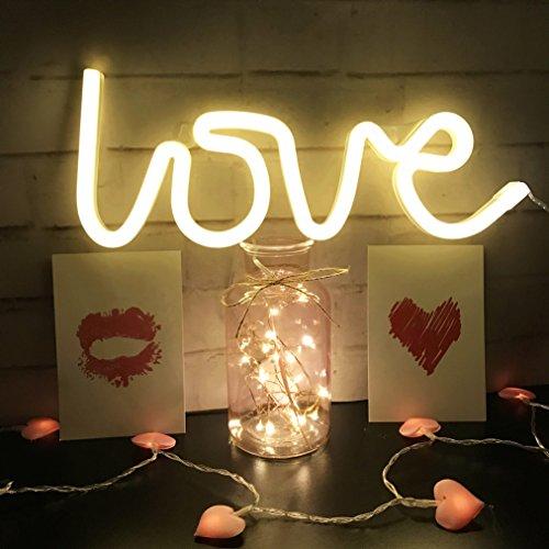 Neonlicht,LED Love Leuchtreklame geformt Dekor Licht, Wanddekoration für Weihnachten, Geburtstagsfeier,Kindergarten, Kinderzimmer,Hochzeitsfeier-Dekor (Warmweiß)