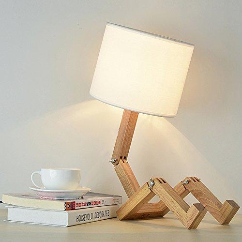 ELINKUME® Kreative Roboter Schreibtischlampe, Verstellbare kann Bücher setzen Holz Nachttischlampe mit Stoff Lampenschirm E27 Schraube für Kinder Schlafzimmer Büro Wohnzimmer Dekorative Beleuchtung