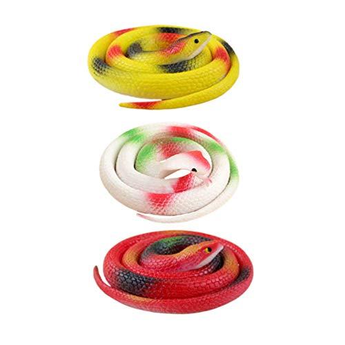 3pcs Plastikschlangen Simulation Schlange Figurine Modell realistisch gefälschte Schlange Gummi Schlange Spielzeug for Partei-Bevorzugungen Dekoration Gag Spielzeug Prank und Prop zcaqtajro