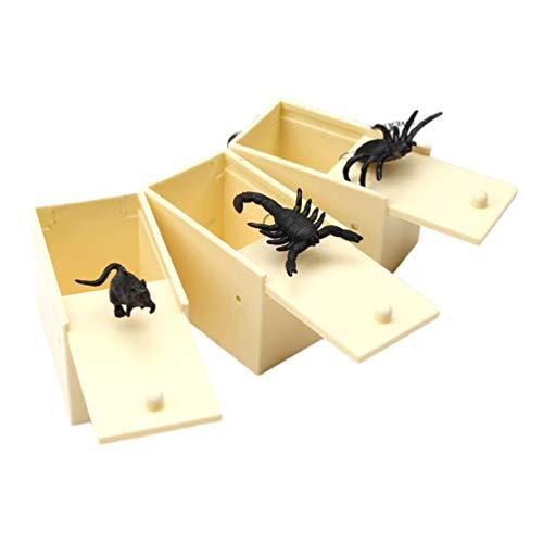 3pcs Prank Scare Box Lustige Realistische Spinne Maus Prank Spielzeug Tricky Requisiten Spielzeug Joking Partei-Streich-Spielzeug Ostern Party Supplies zcaqtajro