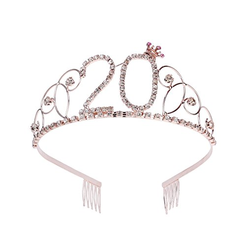 Frcolor Krone Geburtstag 20 Diadem Tiara mit Haarkamm Kristall Strass Geburtstagsgeschenk 20 Jahre für Frauen (Roségold)