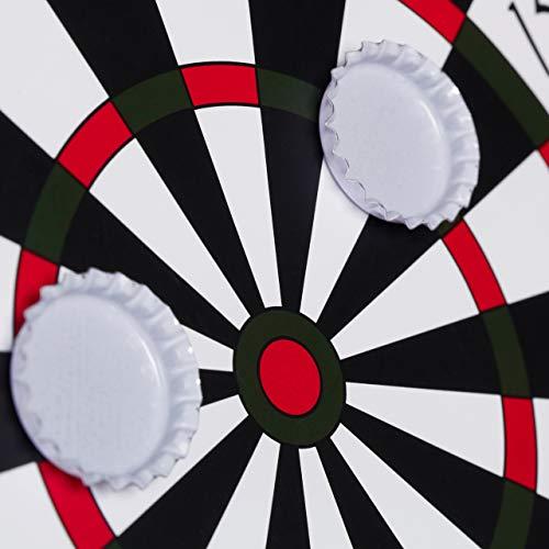 Relaxdays Kronkorken Dartscheibe, magnetische Zielscheibe, Dart Trinkspiel mit 6 Kronkorken, Partyspiel Ø 25 cm, schwarz - 7