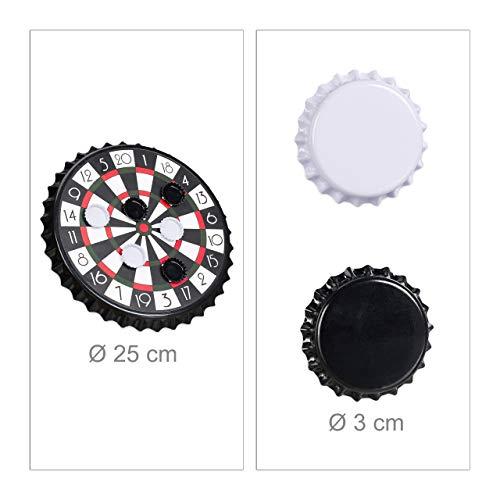 Relaxdays Kronkorken Dartscheibe, magnetische Zielscheibe, Dart Trinkspiel mit 6 Kronkorken, Partyspiel Ø 25 cm, schwarz - 5