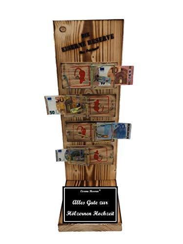 Alles Gute zur Hölzernen Hochzeit - Eiserne Reserve ® Mausefalle Geldgeschenk - Die lustige Geschenkidee - Geld verschenken