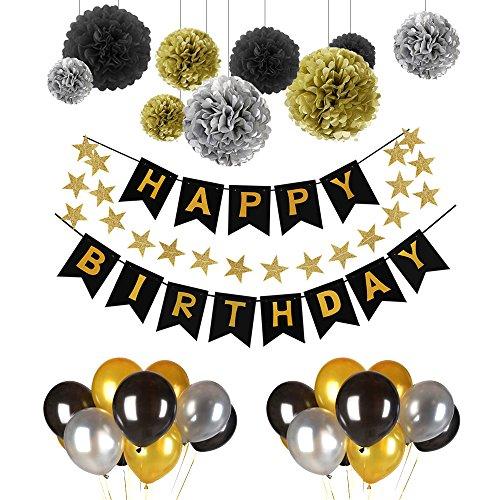 POMISTY Deko Geburtstag, Geburtstag Dekoration Set, Happy Birthday Dekoration 41 Stücks mit 9 Tissue Papier Pom Poms + 30 Große Geperlte Ballons + 1 Happy Birthday Banner für Alle Männer und Frauen