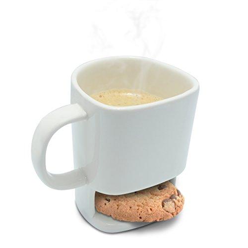 Grinscard Keramik Tasse mit Keks Ablagefach - Weiß Milk & Cookie Design 0,25l - Gadget Kaffeetasse zum Verschenken