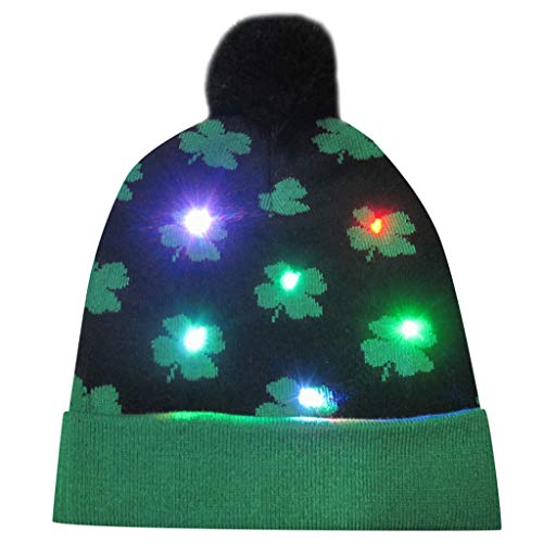 Deloito Damen Weihnachtsmütze Unisex LED Beleuchtete Strickmütze Bunte Lichter Weihnachten Mützen Mädchen Haarballen Gestrickt Hüte Festival Geschenke (B2)