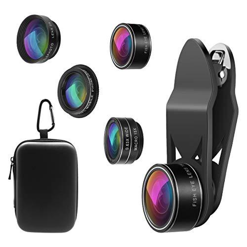 【2020】ORIA 5 in 1 Clip-On Handy Objektiv Kit, Professionel CPL Zirkular Polarisiert Len + 2X Teleobjektiv + 0.63X Weitwinkelobjektiv + 15X Makro Objektiv + 198°Fisheye Objektiv für Smartphones