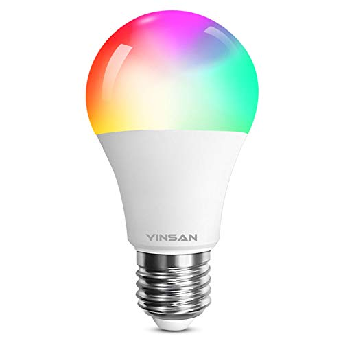 Smart LED Lampe RGB, YINSAN WLAN Mehrfarbige Leuchtmittel Dimmbare 8.5W E27 Wifi LED Glühbirne Kompatibel mit Amazon Alexa, Google Home, für Haus Dekoration, Bar, Party, Bühne, Feiertag, Bettlampe