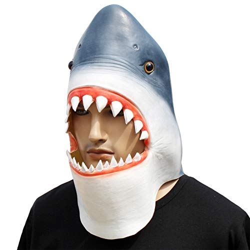 CreepyParty Halloween Kostüm Party Tierkopf Latex Maske Hai