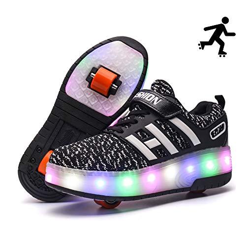 Sunflower Kinderrollschuh-Schuhe LED Leuchten LED Leuchtschuhe Mit Rollen Rad-Schuh-Mode-Turnschuh-Mädchen-Jungen-bequemen Ineinander Greifen-Mode-Trainer,Black-39