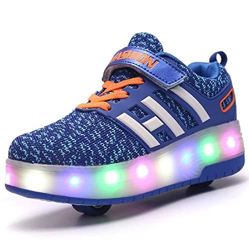 Sunflower Kinderrollschuh-Schuhe LED Leuchten LED Leuchtschuhe Mit Rollen Rad-Schuh-Mode-Turnschuh-Mädchen-Jungen-bequemen Ineinander Greifen-Mode-Trainer,Blue-36