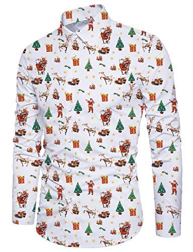 Fanient Herren Weihnachtshemd Lässige Button-Down-Shirts 3D Weihnachtsbaum Bedrucktes Slim Fit-Hemd Hässliches Hemd Xmas