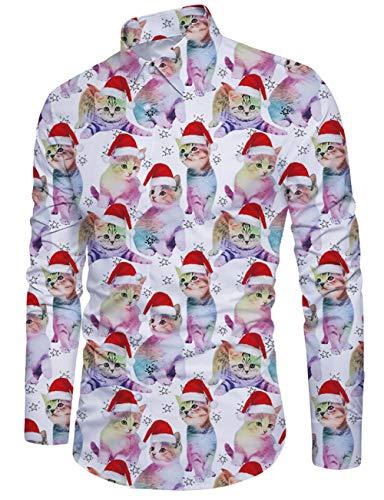 Fanient Herren Katze Gedruckt Button-Down Weihnachtshemd lässig Slim Fit Weihnachten Hemd Männer volle Ärmel Grafik Shirt Galaxy T Shirt weiß