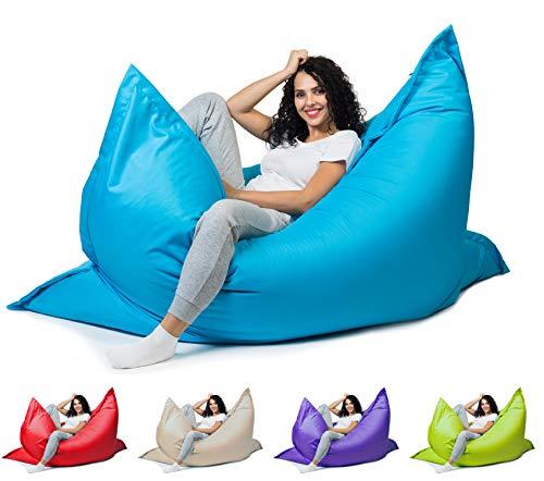 sunnypillow XXL Sitzsack, Riesensitzsack Outdoor & Indoor 180 x 145 cm mit 380L Styropor Füllung Sessel für Kinder & Erwachsene Sitzkissen Sofa Beanbag viele Farben und Größen zur Auswahl Blau