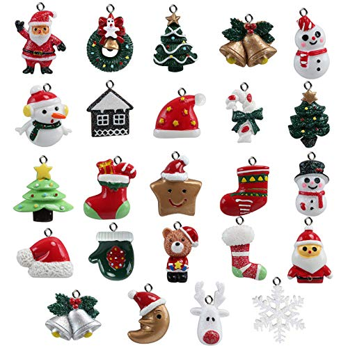 Naler 24-teilig Weihnachtsanhänger Christbaum Deko Weihnachtsbaumschmuck für Adventkalender