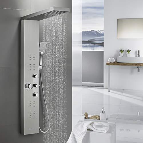 BONADE Thermostat Duschpaneel Edelstahl Duschgarnitur 5 Funktionen Duschsystem inkl. Regendusche, Wasserfalldusche, Massagendüsen, Handbrause und Wasserfallbrause, Duschsäulen Gebürstetes Silber